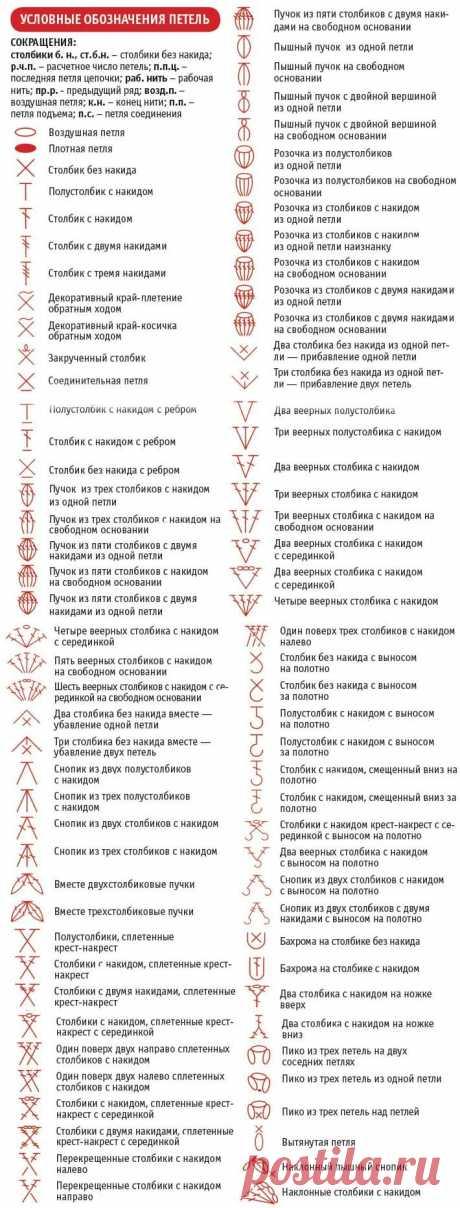 Условные обозначения петель в схемах вязания крючком