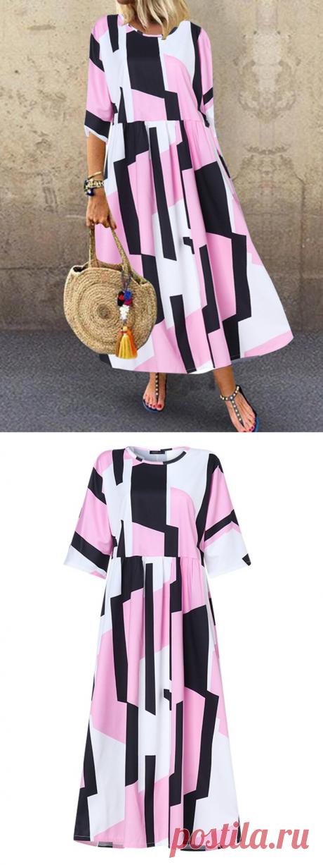 Hot saleZANZEA Контрастный Цвет Геометрический Принт Половина Рукава Платье Для Женское Cheap - NewChic
