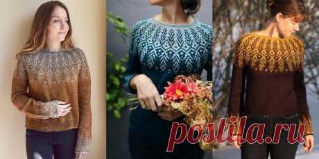 10 красивых жаккардовых пуловеров спицами 2020 | Мамины Ручки. Вязание, рукоделие | Яндекс Дзен