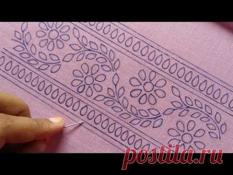 হাতের কাজের জামার নিচের ডিজাইন সেলাই, Hand Embroidery design dress Broderline