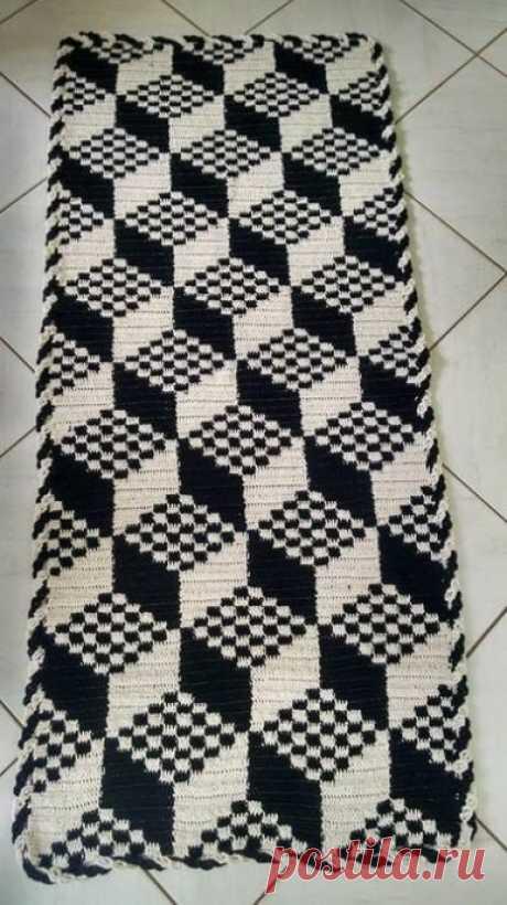 """Прямоугольный коврик в технике """"ленивый жаккард"""". Крючком. Схема. /  knittingideas.ru"""