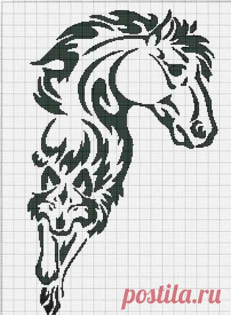 Gallery.ru / Фото #138 - Монохром - elena-555 Horses Kanaviçe, Nakış ve Hayvanlar в Яндекс.Коллекциях