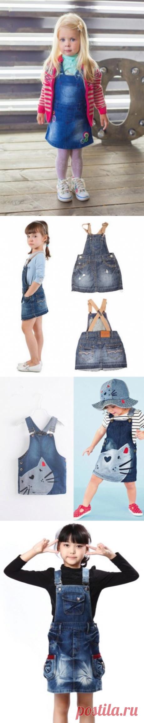 Джинсовый сарафан для девочки (40 фото): на лямках, как украсить, на 1 год