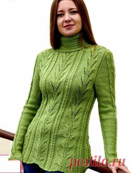 """Ромбовидный узор, листики, косы/ свитер спицами, 3 модели/описание+схемы.   Вязание """"Мир узоров""""   Яндекс Дзен"""