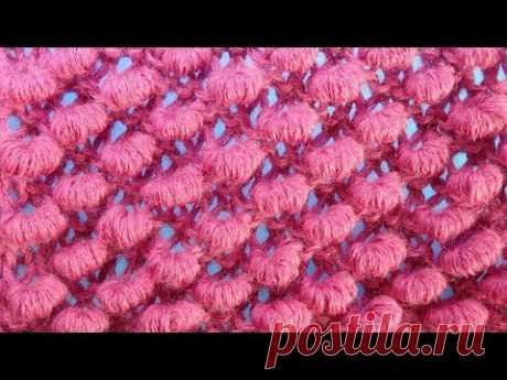 ПУПЫРЫШКИ СПИЦАМИ узор для шапки pimples knitting parrern for hat  41