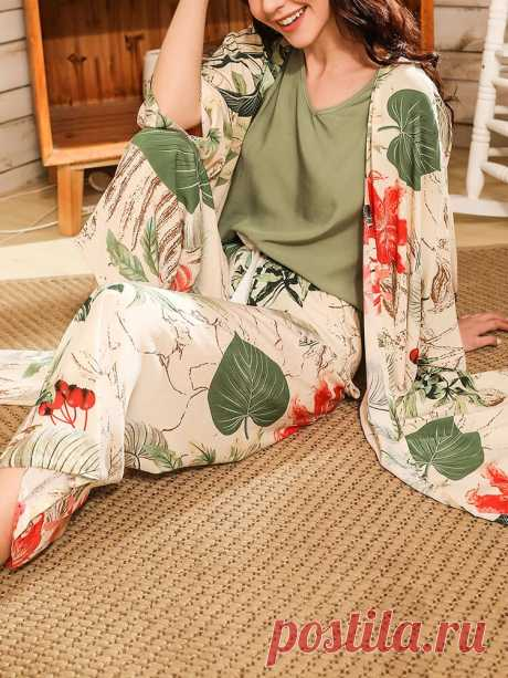 Women V-Neck Sleeveless Green Top Plant Print Elastic Waist Home Pajama Set With - US$35.99