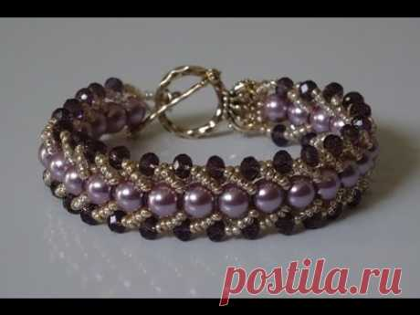 How to make a beautiful and easy pearl bracelet-flat spiral stitch
