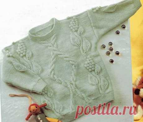 Детский пуловер спицами с узорами для девочек | Вяжем детям