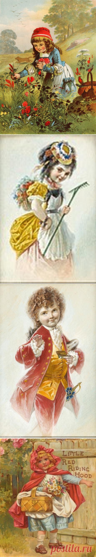 """El pintor alemán y el ilustrador Carl Offterdinger (German, 1829-1889) y el cuento de los Hermanos de Grimm """"Красная шапочка."""""""
