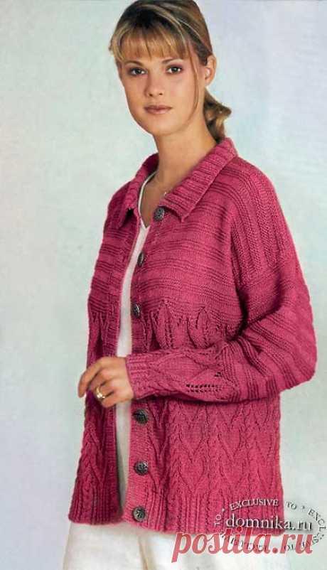 Вязаный жакет большого размера - вязание для полных женщин