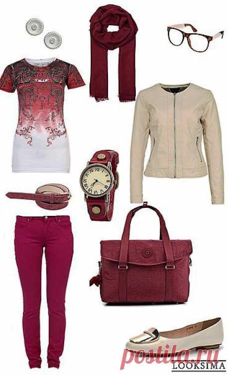 Замечательный образ для стильной девушки-студентки. Цветные джинсы и футболка отлично дополняются кожаной курткой и туфлями на плоской подошве молочного цвета. Контрастные шарф и сумка подчеркнут стиль, а очки добавят делового тона.