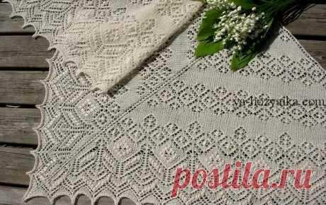 Красивая шаль спицами схемы. Вязание шали спицами