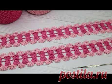 Простое ЛЕНТОЧНОЕ КРУЖЕВО вязание крючком для начинающих How to Crochet lace for Beginners
