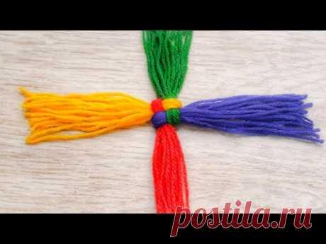 Amazing Woollen Craft ideas|Easy DIY 4 color tassels|Wool flowers|Woollen Crafts|Quicky Crafts