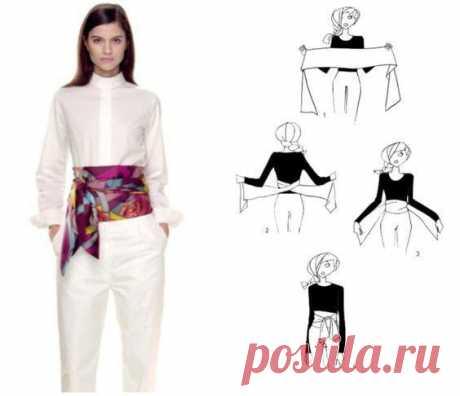 Идеи использования тонкого платка Тонкий платок вовсе не обязательно носить только на шее, как украшение. Платок — стильный элемент, который может быть использован разными способами! Вы наверняка знаете о прическах с платком, о декоре...