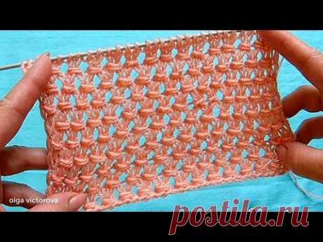 Ажурная сеточка с двойным обвитием петель  641 Узоры Вязание спицами