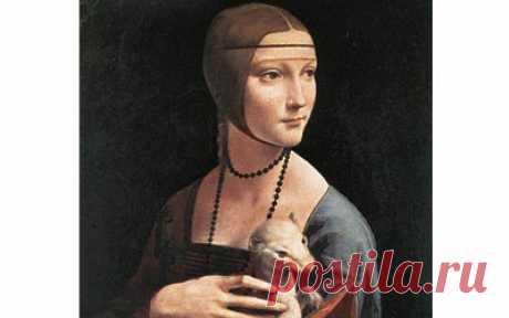 Дама с горностаем» Леонардо да Винчи, 1489-1490 гг. На картине изображена Чечилия Галлерани.