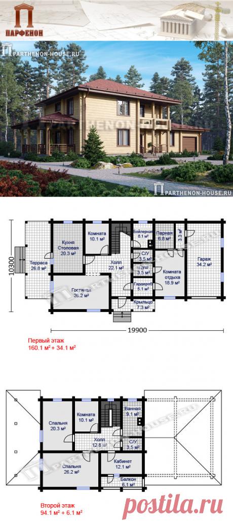 Проект деревянного двухэтажного дома из бруса с гаражом и сауной ПА-260Д  Площадь общая: 260,05 кв.м. + 40,16 кв.м. Высота 1 этажа: 3,000 м. Высота 2 этажа: 2,800 м. Площадь крыши: 344,60 кв.м. Габаритные размеры дома: 19,900 х 10,300 м. Минимальные размеры участка: 26,00 x 17,00 м.  Технология и конструкция: строительство дома из бруса