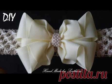 Бантик на повязке из репсовой ленты Канзаши Мастер класс Grosgrain ribbon bow Laco de fita