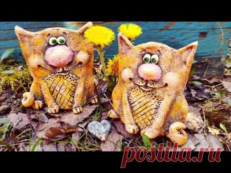 "😸😻 Коты ""под керамику"" для декора дома (папье-маше) - YouTube"