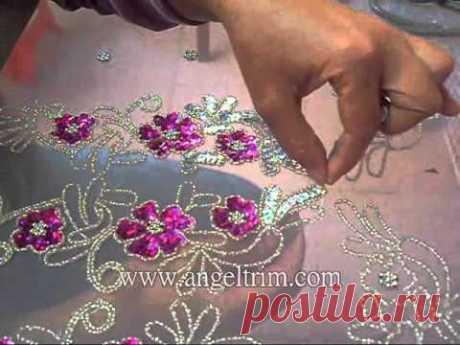 How to make sequins beaded flower applique motif Handmade craft - YouTube