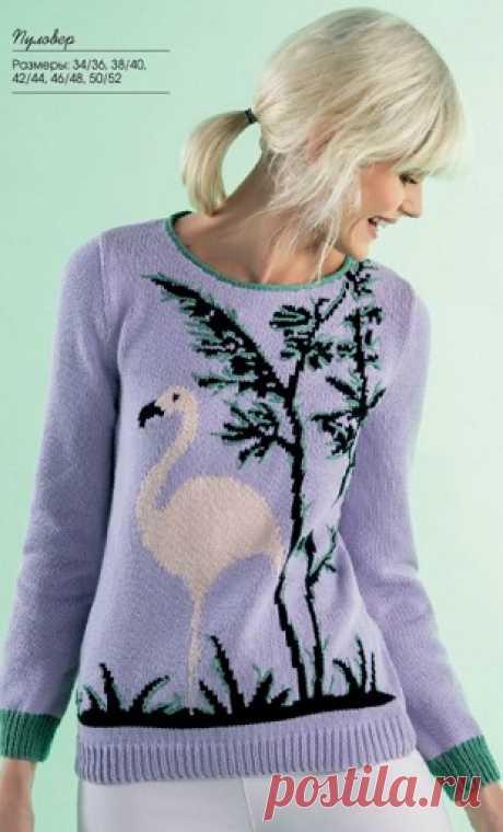 Два прекрасных пуловера спицами  Пуловер с узором Фламинго спицами          ТЕМНО-КРАСНЫЙ МОХЕРОВЫЙ ПУЛОВЕРС ВЫШИВКОЙ.  Классический пуловер, связанный простой лицевой гладьюиз теплой и пушистой мохеровой пряжи, выглядит оченьженс…
