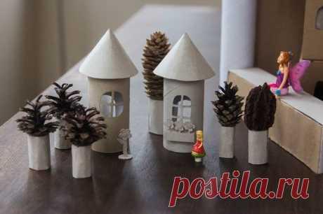 Домики из картонных рулончиков — Поделки с детьми