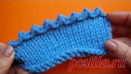 Picot binding off knitting Зубчатое пико Вязание спицами 67