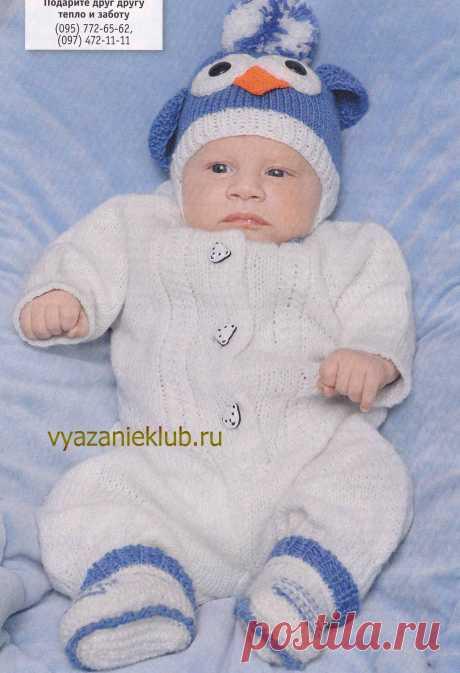 Комбинезон, шапочка - пингвин и пинетки - Для детей до года - Каталог файлов - Вязание для детей