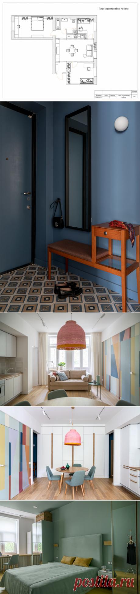 В гостях: Квартира с разноцветной стеной и умными шкафами - от эксперта Евгения Назарова   Houzz Россия