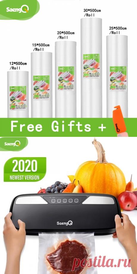 Пакеты saengQ для вакуумного упаковщика пищевых продуктов, 12 + 15 + 20 + 25 + 30 см * 500 см/рулон, пакеты для вакуумного упаковщика Вакуумные упаковщики