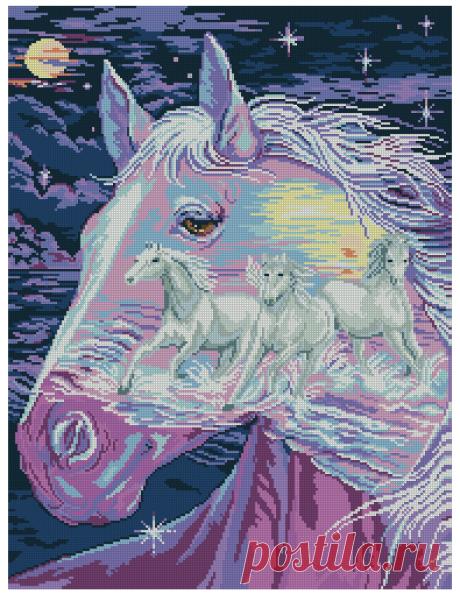 Лошади - Животные - Схемы в XSD - Кладовочка схем - вышивка крестиком