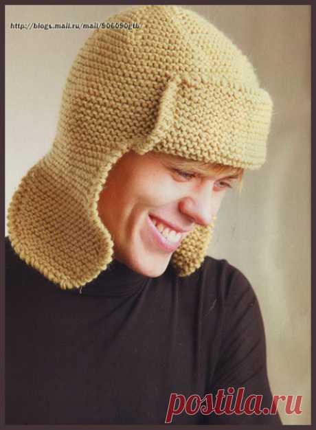 Мужская шапка-ушанка спицами