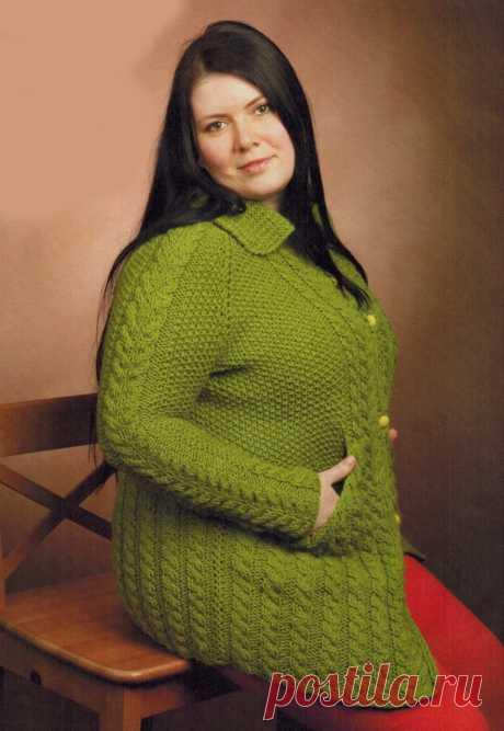 Кардиган спицами для полных женщин | Все-Вязание