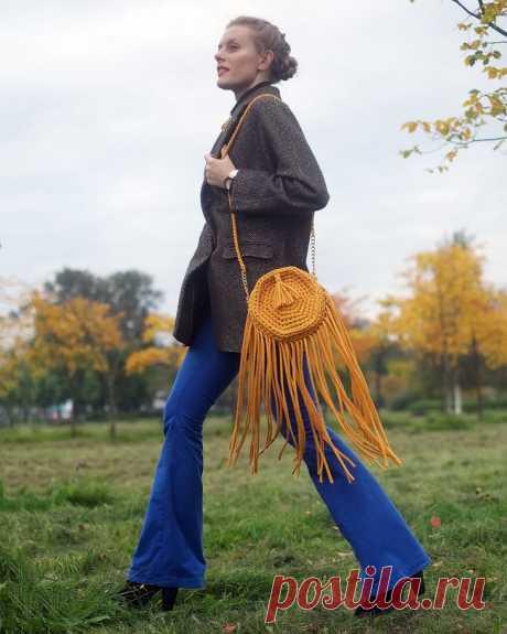 Вязаная сумка «Осеннее солнце» из трикотажной пряжи