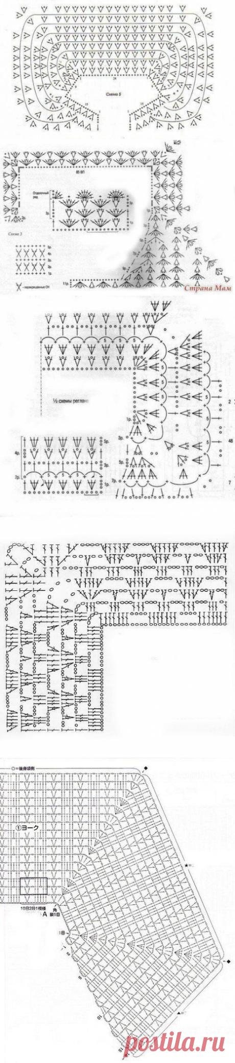 Схемы для реглана, вяжем спицами и крючком