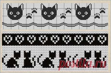 Жаккард и интарсия с прекрасными кошками - более сотни схем и моделей - в копилки мастериц | МНЕ ИНТЕРЕСНО | Яндекс Дзен УЗОРЫ