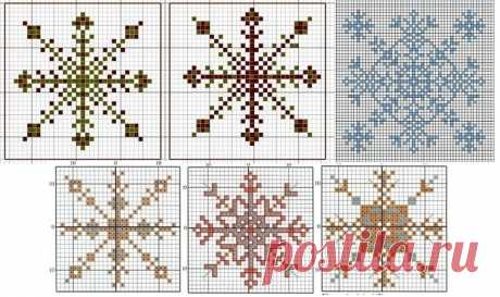 Снежинка: вышивка крестом, гладью и бисером по схеме