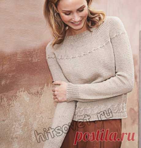 Вязание спицами для женщин модного свитера единым полотном со схемой и пошаговым бесплатным описанием.