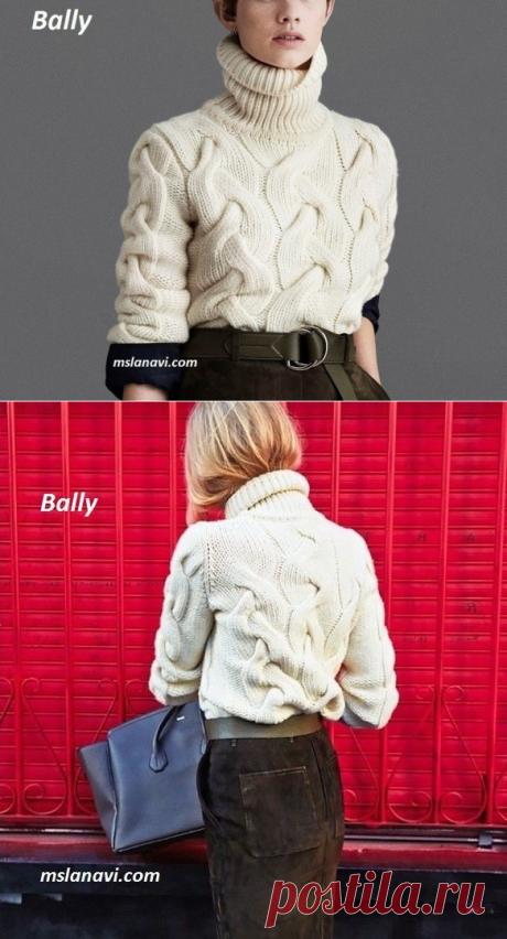 Вязаный свитер с косами от BALLY - Вяжем с Лана Ви