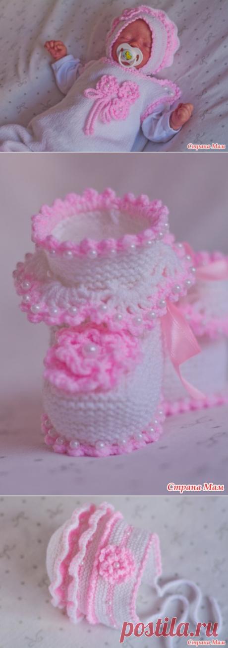 """Комплект для новорожденного """"лапочка"""" шапочка, комбинезон и пинетки - Вязание для детей - Страна Мам"""