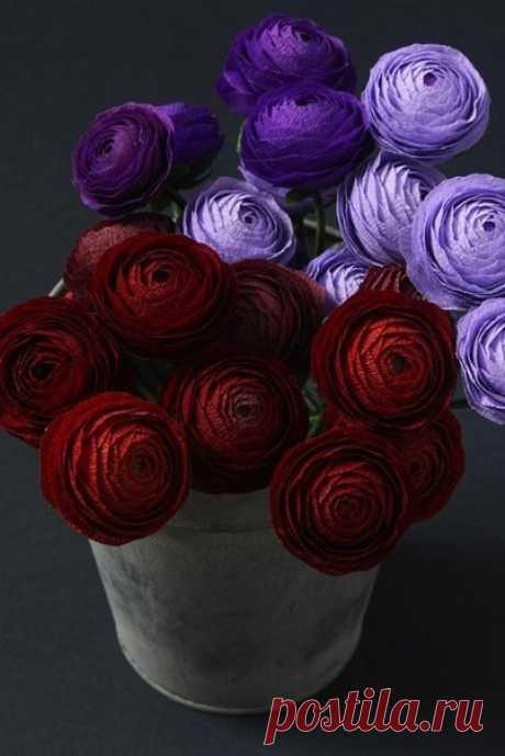 Роскошные цветы из бумаги. Мастер-класс