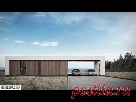 Проект одноэтажного дома с плоской крышей FLAT-001-ZV