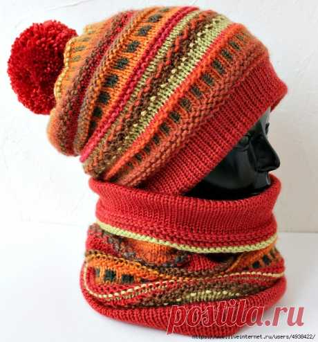 Яркий двухслойный зимний комплект из шапки и снуда. Terracotta Hat and Snood by Inna Sidorova.