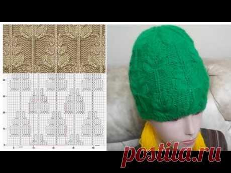 МК по вязанию бесшовной шапочки спицам узором ёлочки вяжем узор елочки с 1 по 7 ряд; первый ярус лап