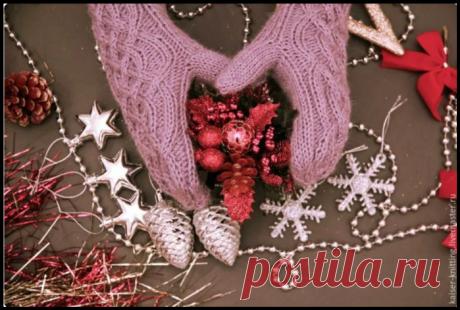 """Красивейшие варежки """"Зимний рассвет"""" с подробным описанием вязания спицами"""