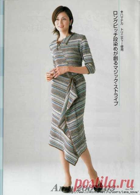 Вязаный костюм с оригинальной юбкой(может быть связан как спицами,так и крючком)