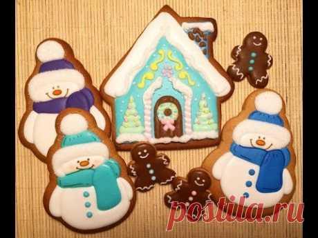 Имбирные пряники Роспись Айсинг Пряничный домик и снеговик