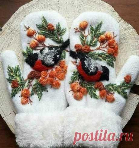 объёмная вышивка шерстяными нитками для начинающих на варежки: 7 тыс изображений найдено в Яндекс.Картинках