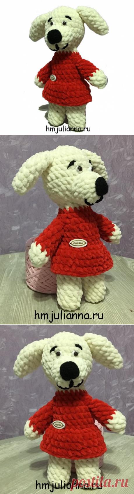 Плюшевая игрушка собачка ручной работы, 25 см, в красном платье.Мастерская рукоделия Анны Ганоцкой